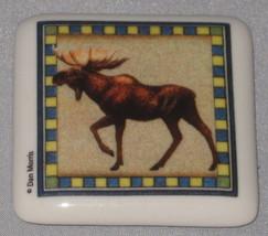 "MOOSE Ceramic Tile Magnet New 2"" Square Bull Male Brown Blue - $4.94"