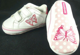 Infant Baby Girls Reebok Butterfly White Pink Crib Shoes Size 1 Newborn ... - $14.84