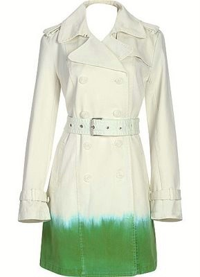 CALVIN KLEIN art dip dye ombre green trim TRENCH COAT white belted NWT L $250+
