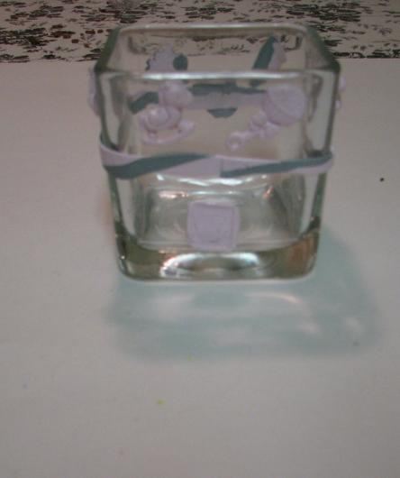 Pink and Silver  Baby Polymer Clay Changing Table Cube