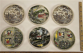 """6 Pc Vintage Johnson Brothers Staffordshire Ware Painted Plates 4.25"""" England - $27.78"""
