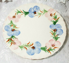 "VINTAGE ANTIQUE HAND PAINTED CHINA PINK ROSE BLUE FLOWER-  9.25"" Dinner Plate image 1"
