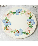 "VINTAGE ANTIQUE HAND PAINTED CHINA PINK ROSE BLUE FLOWER-  9.25"" Dinner ... - $3.98"