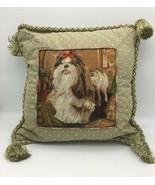 "Shih Tzu Dog Puppy Needlepoint Throw Pillow 13"" - $39.95"