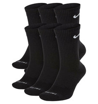 NEW Nike Dri Fit Everyday Plus Cushion Crew Socks 6 Pair L 8-12 SX6897-010 BLACK - $25.00