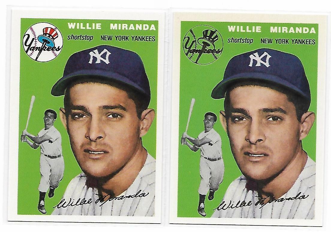 1954 Topps Archives Willie Miranda New York Yankees #56 Gold & Regular 2Cards