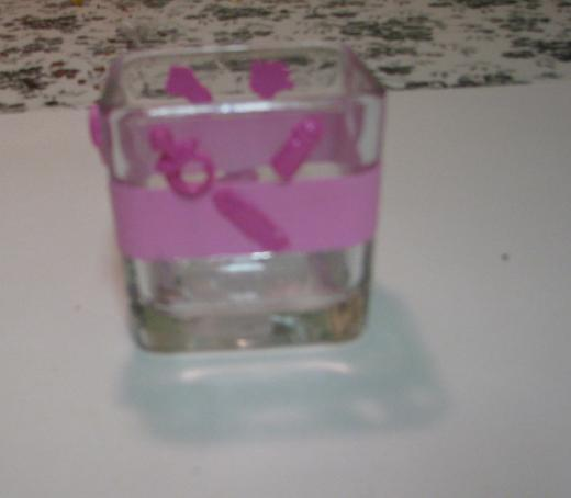 Light and Dark Pink  Baby Polymer Clay Changing Table Cube