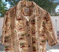 2XL Naniloa Hawaiian Aloha Shirt Made in Hawaii SURF Design TAN MULTI - $17.99