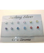 CUBIC ZIRCONIA Stud Earrings in STERLING Silver - 6 pairs - Multi Colors - $55.00