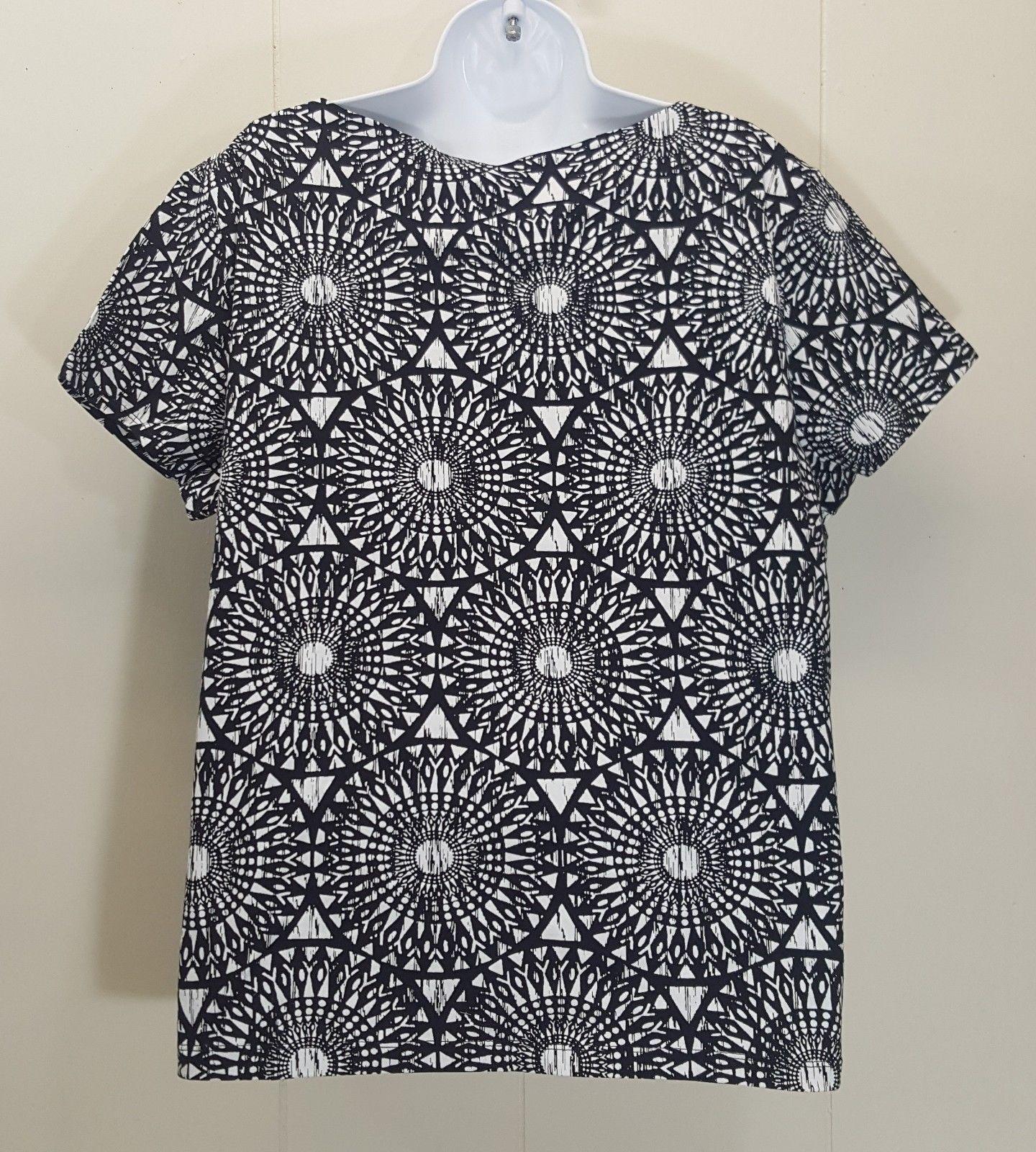 Ruby Rd Favorites Shirt Top Blouse XXL Black White Geometric Blue Jeweled Neck