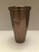 Starbucks 2012 Rose Gold Metal Geometric Tumbler 16oz/473mLGood Condition - $23.35