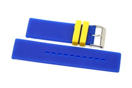 22MM BLUE YELLOW RUBBER WATERPROOF SPORT DIVER WATCH BAND STRAP FITS INV... - $14.84