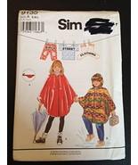 Simplicity 9135 Sewing Pattern Size A (S,M,L) Child's Rain Poncho - $12.82