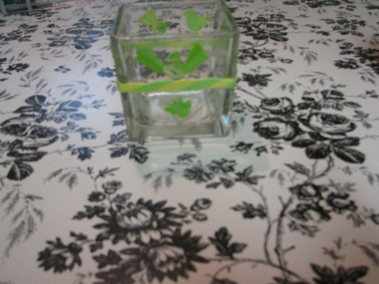 Green  and Yellow Baby Polymer Clay Changing Table Cube