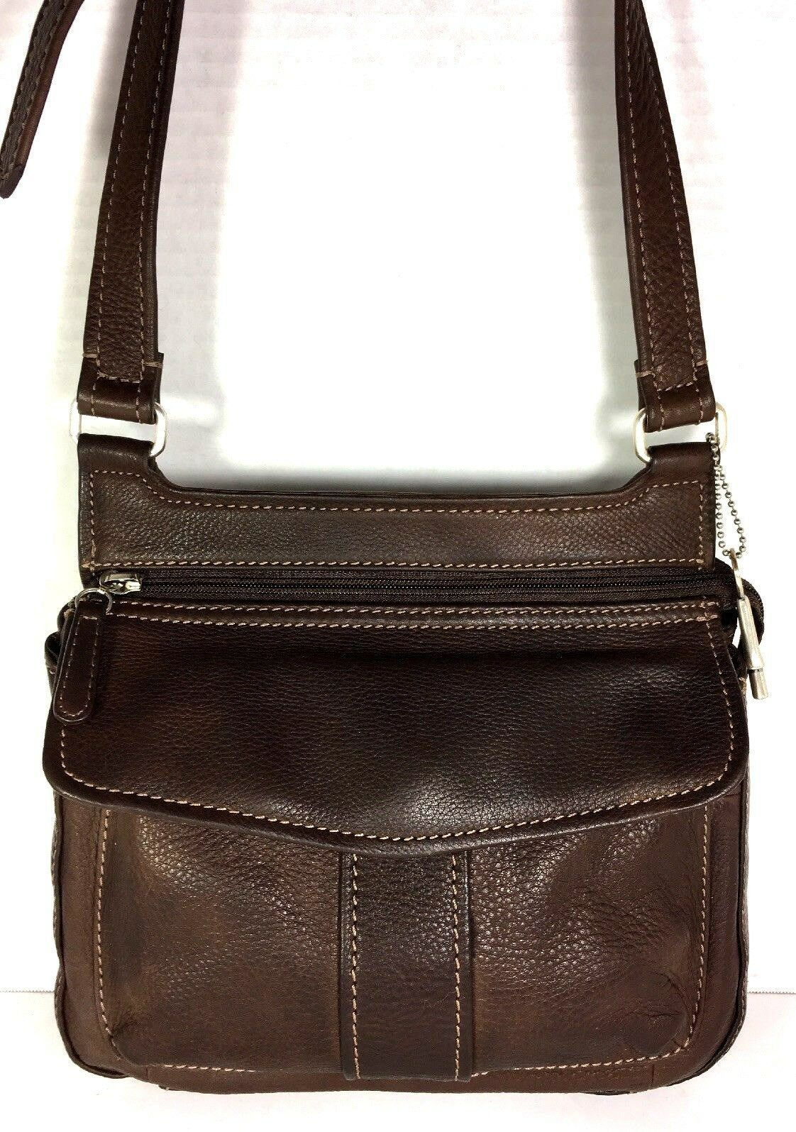 Fossil Vintage Brown Pebbled Leather Multi Pocket Multi Compartment Shoulder Bag