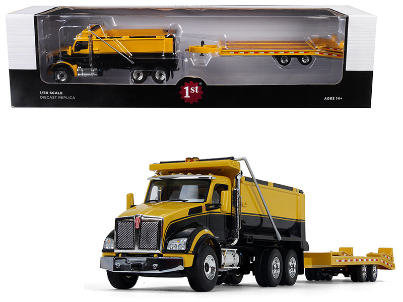 Kenworth T880 Tandem Axle Dump Truck with Beavertail Trailer Yellow/ Black 1/50