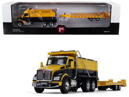 Kenworth T880 Tandem Axle Dump Truck with Beavertail Trailer Yellow/ Bla... - $126.70