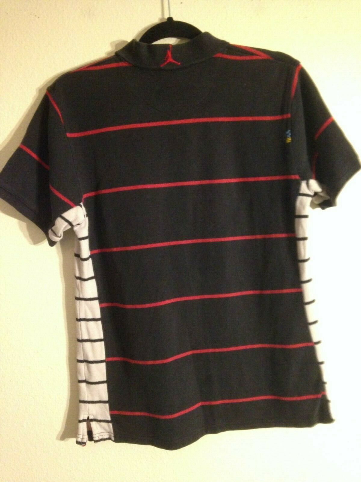 Vintage Air Jordan Youth XL Stretch Woven Top Black Red Striped image 2