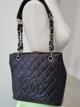 Chanel Caviar Silver Chain & Leather Strap PST Petite Shopping Tote Brown - $1,195.00