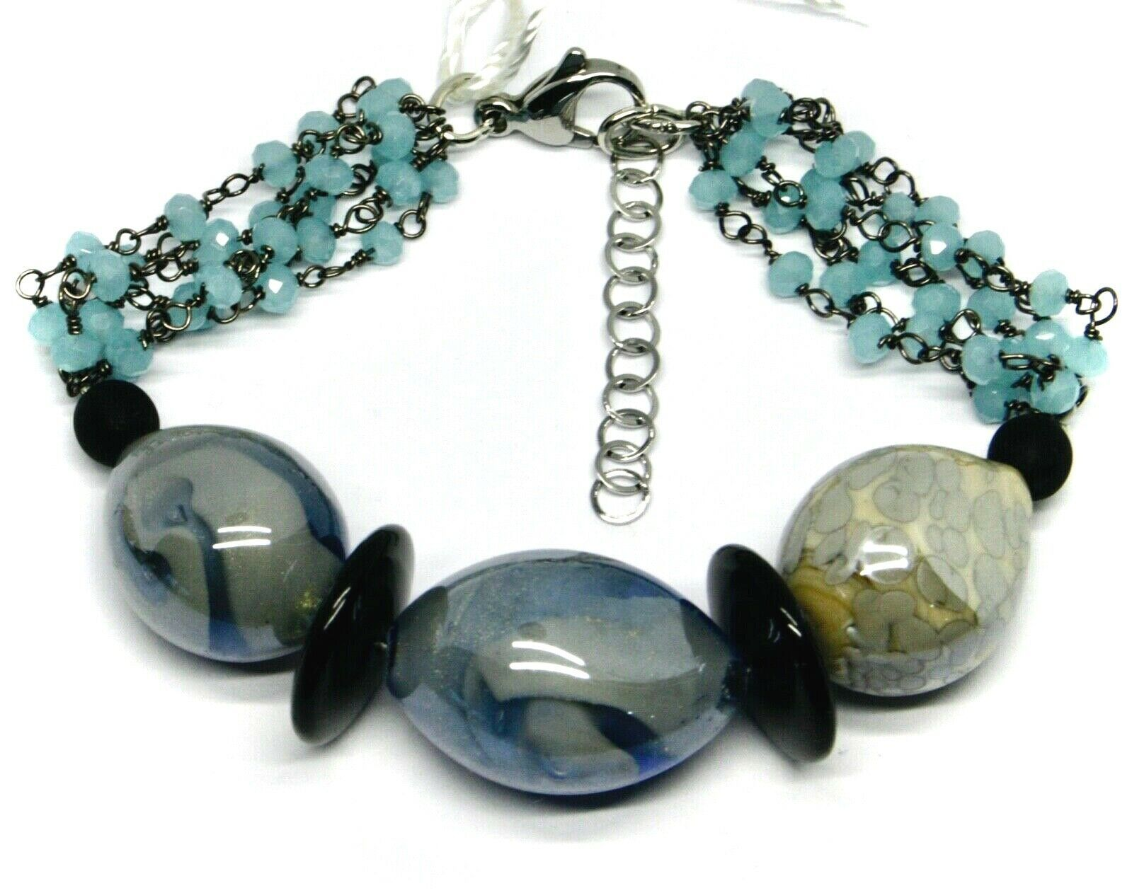 BRACELET BLACK, BLUE SPOTTED DROP OVAL DISC MURANO GLASS, MADE IN ITALY