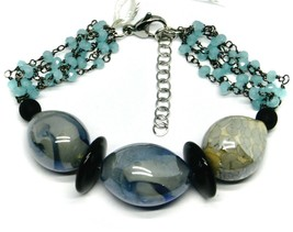 BRACELET BLACK, BLUE SPOTTED DROP OVAL DISC MURANO GLASS, MADE IN ITALY image 1