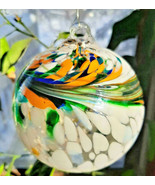 "Hanging Glass Ball 4"" Diameter White with Multicolored Swoosh GB17 - $14.85"