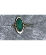 Vintage Malachite Sterling silver ring Downton Abbey size 5 petite  - $25.00