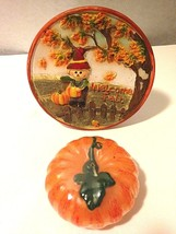 "5""Round Ceramic Painted Plaque Pumpkin Candle Fall Halloween Thanksgivin... - £6.51 GBP"