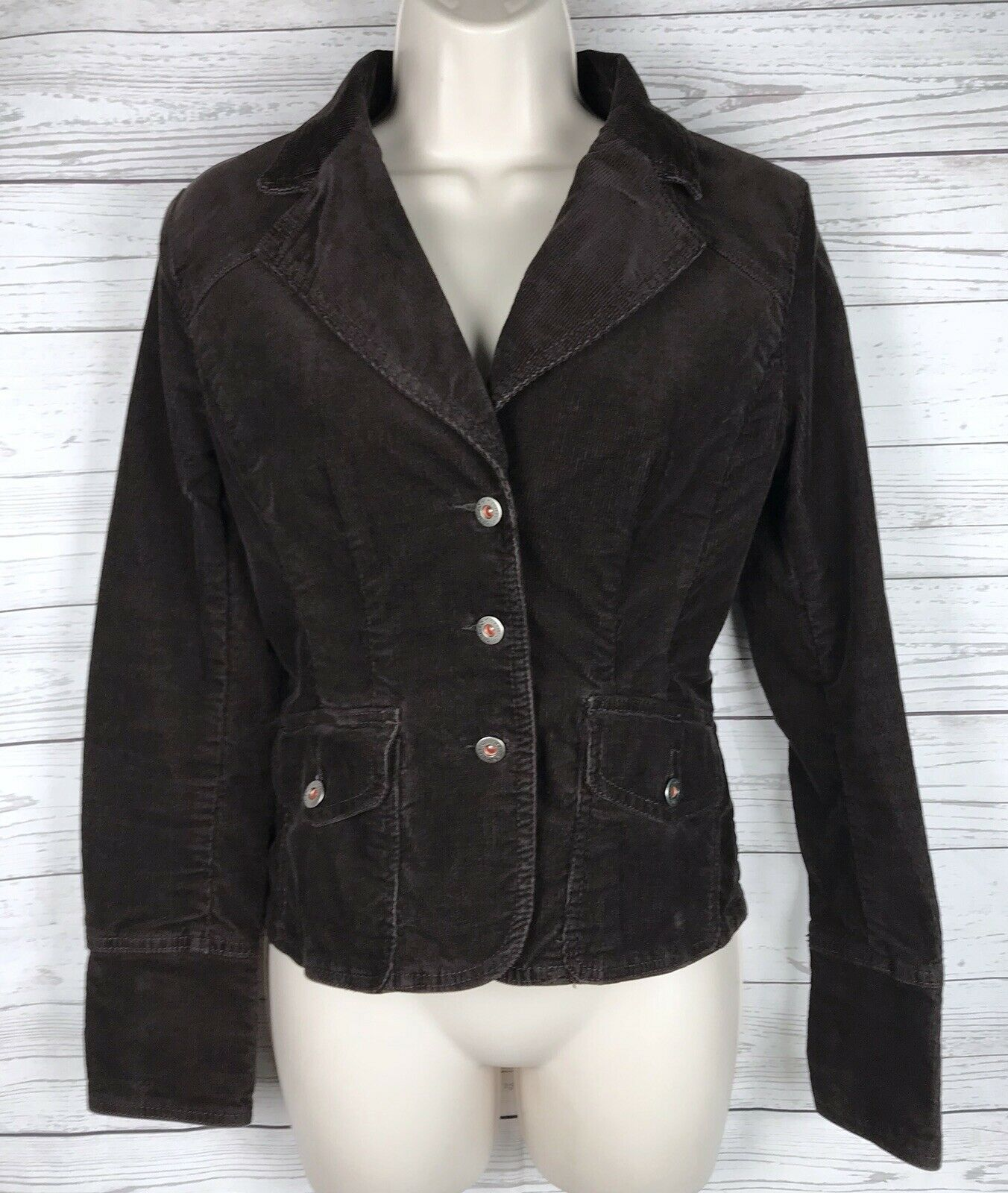 Tommy Hilfiger Corduroy Blazer Jacket Women's S Brown Stretch Button Long Sleeve