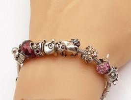 PANDORA 925 Silver & 14K GOLD - Vintage Topaz Charmed Chain Bracelet - B... - $280.46