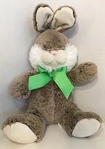 Animal Adventure brown gray cream white bunny rabbit green bow ribbon - $12.02