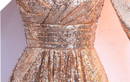 Women Long Sequin Dress Outfit Half Sleeve Wedding Gold Sequin Dress Plus Size image 9