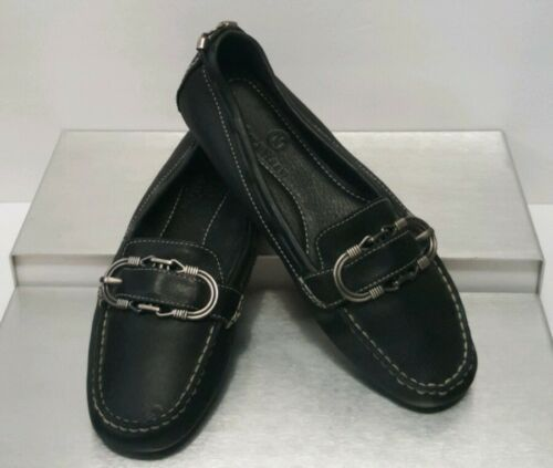 Cole Haan Black Leather Mocas Buckle Strap Loafer Women's 8 B Driving Shoes