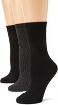 Anne Klein Size One Size Women's Rib Crew Socks Black / Charcoal / Black 3 Pair