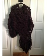 Women's Chocolate Brown Knit Poncho ~ Shawl ~ Faux Fur ~ Harry Angd Desiae - $14.03