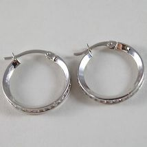 White Gold Earrings 750 18k circle, diameter 2 cm, Width 3 mm zirconia image 3