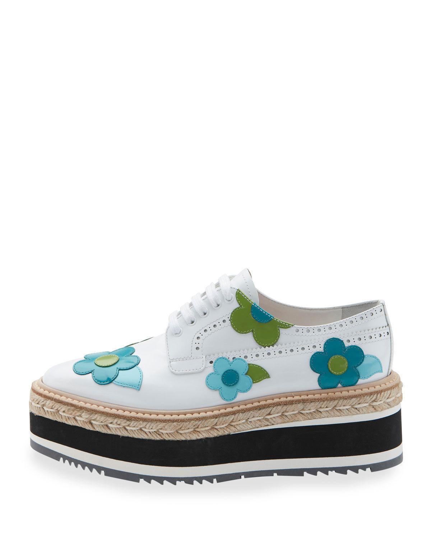 Prada Microsole Floral Platform Espadrille Sneaker, Bianco  $1,250.00 Sz 39.5 image 2