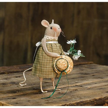 farmhouse primitive country rustic fabric spring flowers Garden MOUSE 7.... - $34.99
