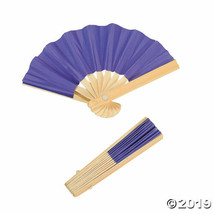Purple Mini Bamboo Fans, Set of 12, Choose from 6 colors - $16.01