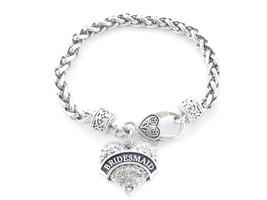 Bridesmaid Clear Crystal Heart Silver Bracelet Jewelry Wedding Maid Hono... - $14.72