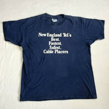 Vintage New England Tel's Telephone Cable Placers Blue T-Shirt Size XL U... - $29.99