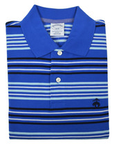 Brooks Brothers Mens Blue Striped Slim Fit Pique Polo Shirt Sz Large L 3861-6 - $50.48