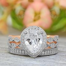 1.85Ct D/VVS1 Diamond 3Pcs Bridal Engagement Ring Set 14K Rose Gold Over Silver - $151.99