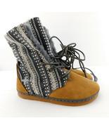 New OTZ Size 5 YUCATAN Mocassin Wrap Shearling Booties Boots 35 Eur - $49.00