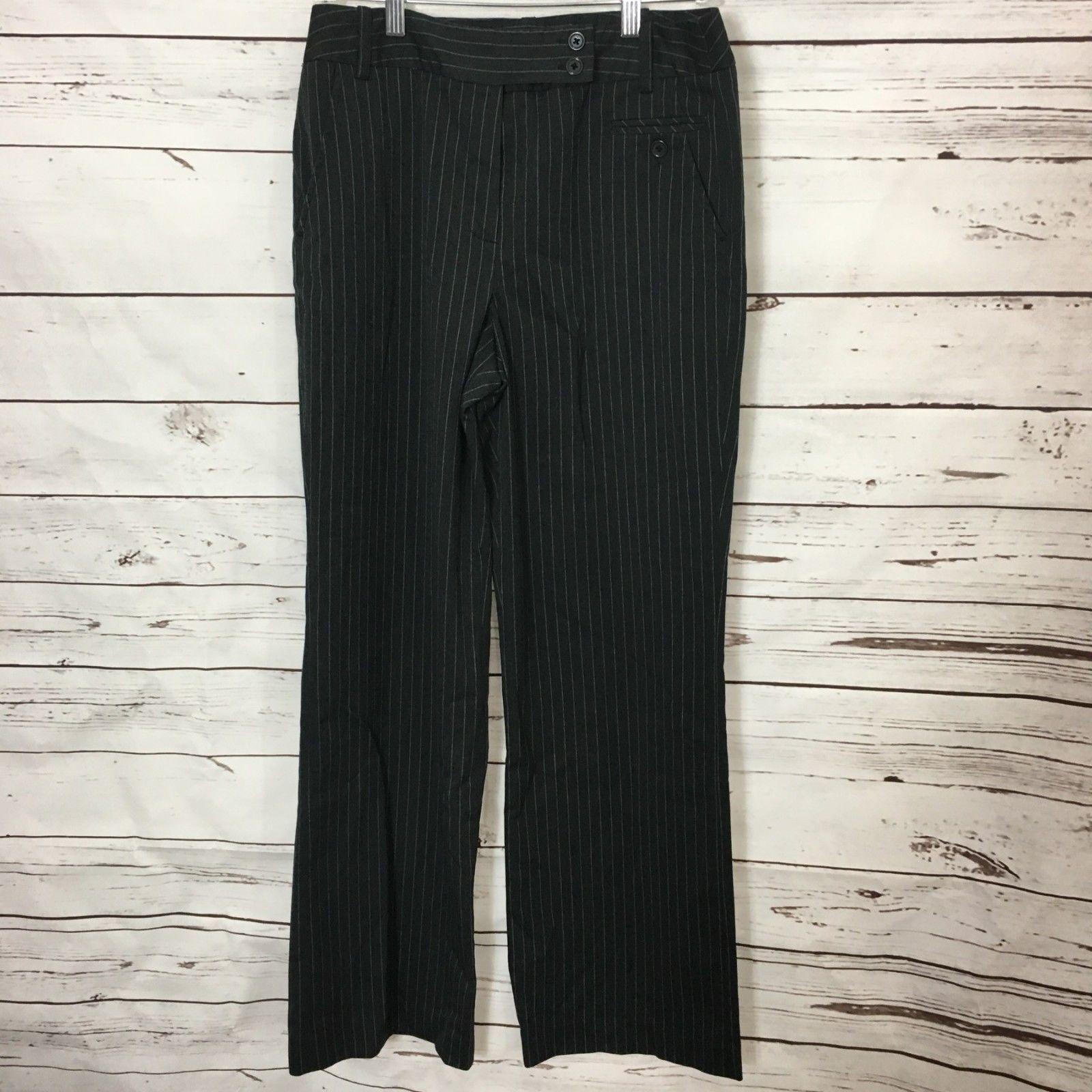 Larry Levine Womens Dress Pants Size 8 Black White Pin Stripe Career Work