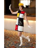Austin Powers Mondrian Bar Waitress Dress Cosplay Costume with Hat and G... - $109.00