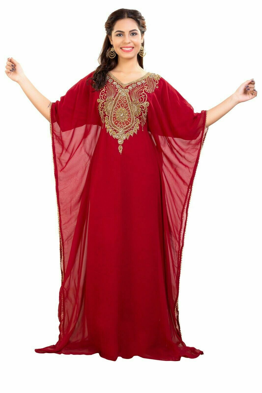 Primary image for Kaftan Elegant Half Sleeve Islamic Beach Wedding Gown African Hand Zari work