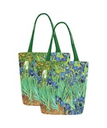 Set of TWO Irises Van Gogh Art Canvas Tote Bag Two Sides Printing - $29.99