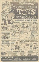 Boston TOY Store Newspaper AD 1963 Bikes Train Doll Pedal Car Fire Truck... - $15.99