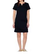 C Wonder Split Neck Short Sleeve Colored Denim Dress BLACK Sz 8 # A28762... - $19.78